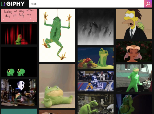 Giphy search for 'frog'