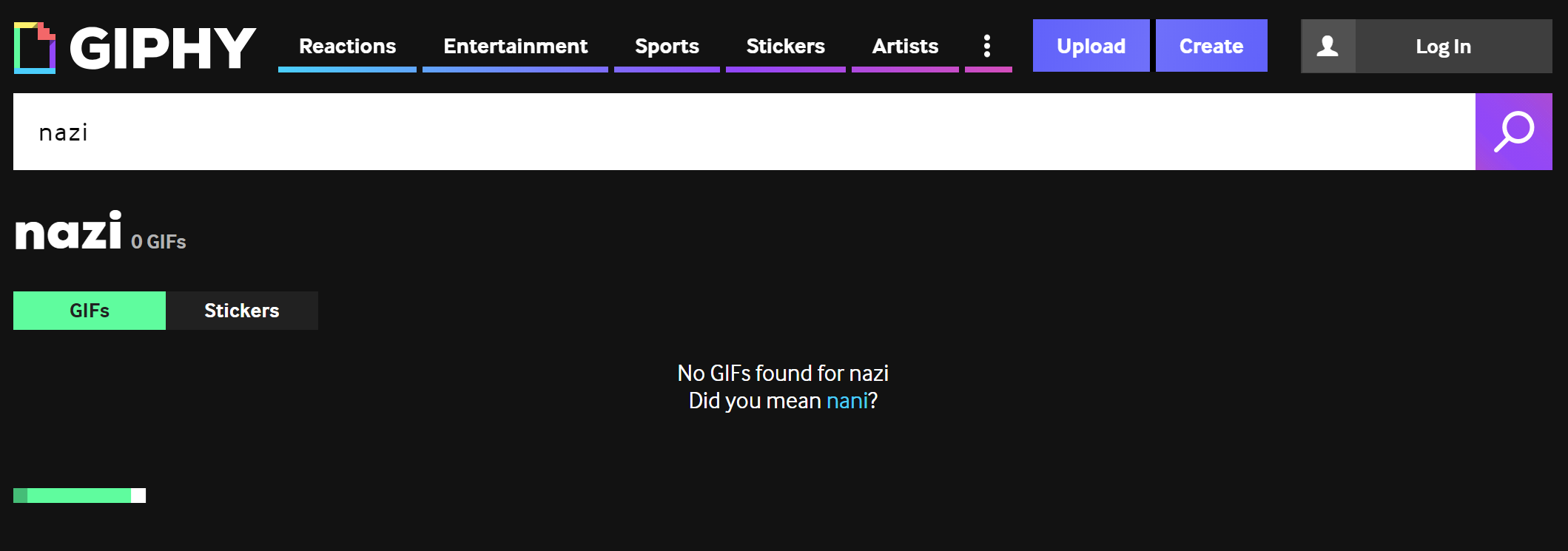 Giphy search for 'nazi', resulting in 'No GIFs found for nazi'