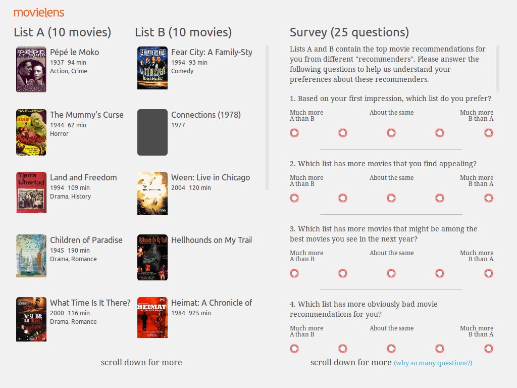 The experiment interface, consisting of two columns of movies (labeled List A and List B)           and a questionairre.