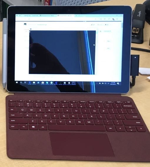 Surface Go with burgandy type cover